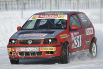 Rally car in snow